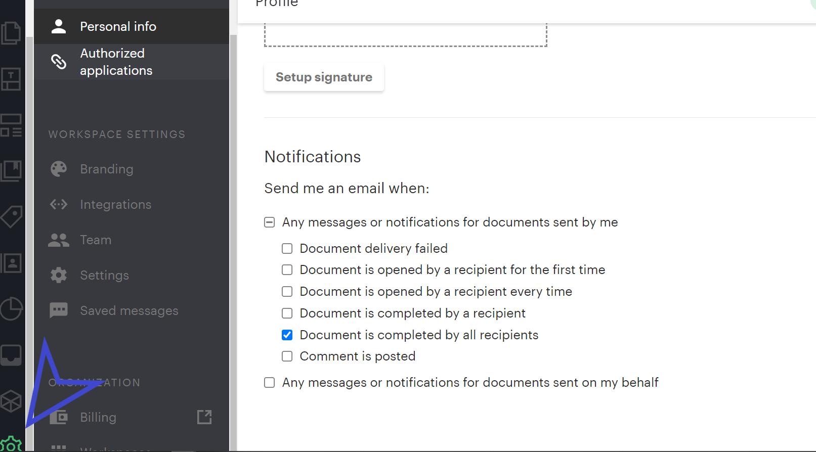 notification pandadoc settings
