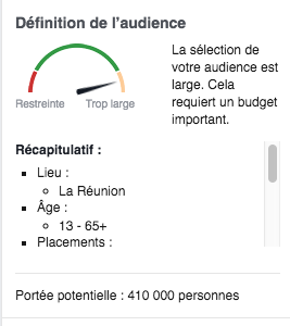 Définition de l'audience facebook